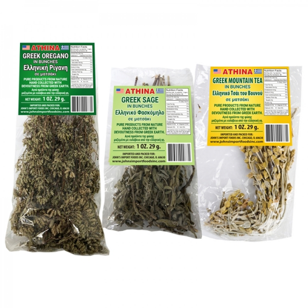OREGANO BUNCHES, SAGE BUNCHES AND MOUNTAIN TEA, GREEK