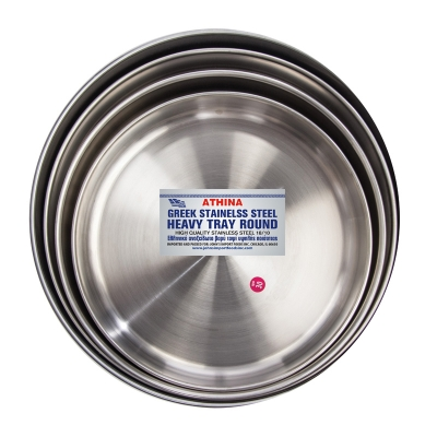 GREEK STAINLESS STEEL TRAYS ROUND 2΄΄ DEEP