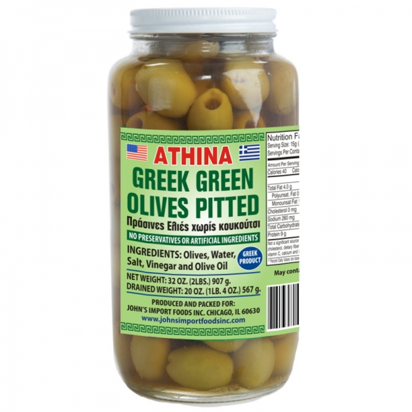 GREEK GREEN OLIVES PITTED